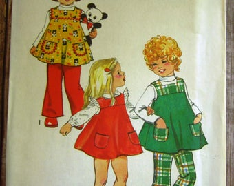 Vintage 1970s Toddler Girls Flared Jumper with Square Neckline and Bell-Bottom Pants Size 3 Simplicity Pattern 5872 UNCUT
