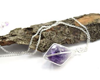 Amethyst Crystal Point Necklace in Sterling Silver - Gemstone Cage Necklace - Choose Your Finish - F