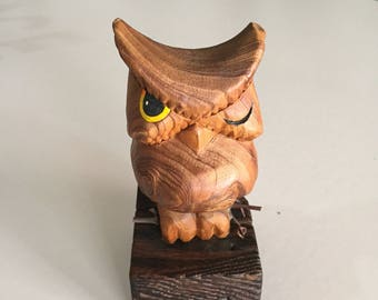 Mid Century  Hand  Carved Owl/ Vintage Owl/Wood Carving/Hand Carved Owl/ By Gatormom13