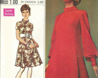 1970s Mod Dress Long or Short Sleeves Roll Neck Pleats Simplicity 8031 Uncut FF Size 12 Bust 34 Women's Vintage Sewing Pattern