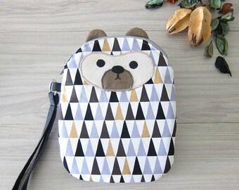 Large Smartphone Wristlet, Geometric Triangles Bear
