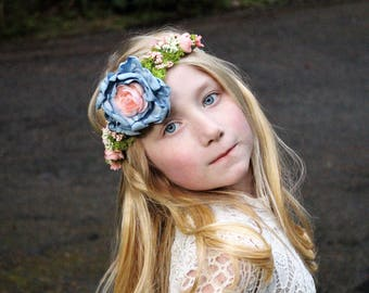 vintage blue blush tieback, floral crown, ready to ship, vintage headband, any size, m2m dollcake,  photo prop,