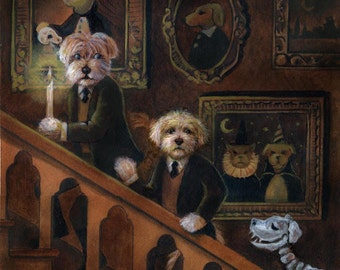 Dog Print, Dog Art, Haunted House, Skeleton Dog, Mystery Dog, Haunted Mansion, Victorian, GothicSpooky, Halloween