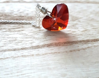 Swarovski Crystal Necklace - Siam - Crystal Heart - Swarovski Heart - Valentine - Sterling Silver Necklace - Swarovski Heart - Red Necklace