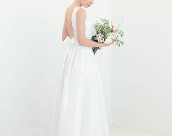 Open-back silk taffeta bridal gown with boatneck and pleated skirt // custom made wedding gown // Audrey wedding gown