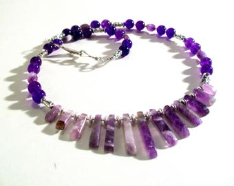 Genuine Amethyst Bib Necklace Set, Dainty, Genuine Amethyst Gemstone Statement Necklace, 2 Piece Set, Amethyst Necklace