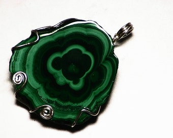 Stalactite Necklace, Malachite Necklace, Congolese Malachite Stalactite Pendant in Sterling, Raw Malachite Slice Jewelry, Raw Gem From Congo