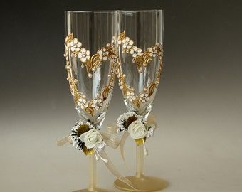 Hearts and Flowers Hand Painted Wedding Toasting Glasses Gold,Silver White, Swarovski Crystals Set of 2