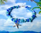 Starfish sea mix nugget beads beach anklet
