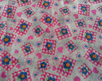 Hearts and Flowers Bright Pink and Blue Print Polyester Cotton Blend Fabric 2 1/2 Yards X0761
