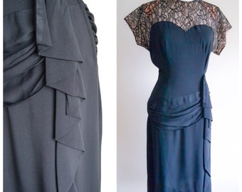 1940s Black rayon crepe & lace illusion cocktail dress / 40s beaded swag evening dress, Nan Parker S