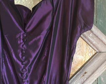 1950s Cocktail Dress, Taffeta, Amethyst, Violet, Purple