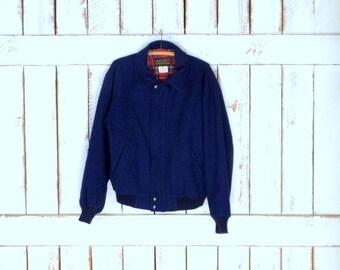 Mens vintage Eddie Bauer dark blue wool bomber jacket/wool flight style jacket/small