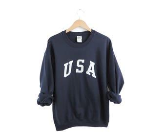 New Retro USA Crewneck Sweatshirt White Ink // Size S-3XL // You Pick Color