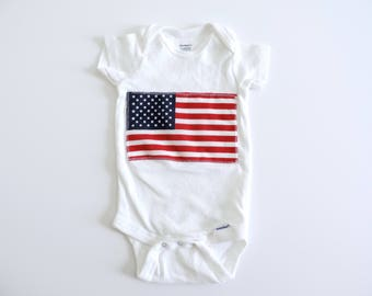 New American Flag Fabric Hipster Baby Onesie Bodysuit // Size NB-24 Months // You Pick Color