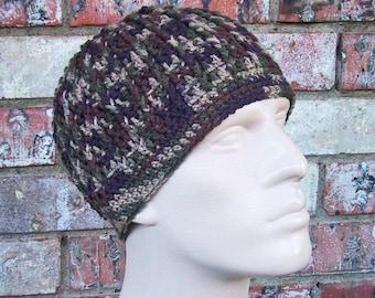 CAMO Beanie - Mens Hat Size Medium - Hunting Gear - Hand Crocheted Soft Acrylic Yarn - Handmade - Super Warm Winter Cap - Camouflage Colors