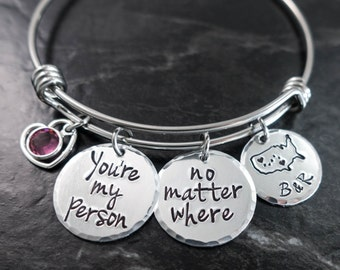 You're My Person / Wire Bangle / Charm Bracelet / No matter where / Personalized Bangle / Hand Stamped Jewelry / Anniversary Gift