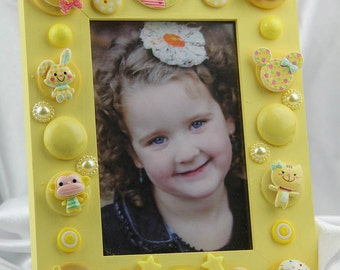 Children's Yellow Button Picture Frame,Holiday,Birthday, All Occasion Gift