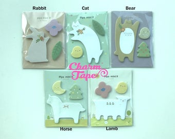 Animal Post-it Sticky Memo Note Pad Rabbit, White Cat, Bear, Horse, Lamb