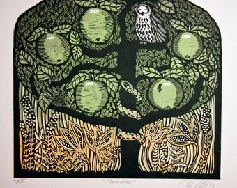 linocut print, Paradise, tree of life, apple tree, fruit tree, yellow, green, owl, apples, nature, printmaking, wall art, forest, woodland
