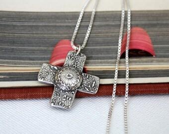 Rustic Silver Flower Cross