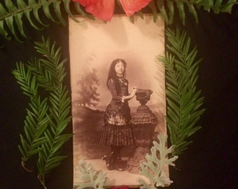 1882 - Victorian Girl of Elgin Illinois - Long Hair - Wonderful Dress -Smaller Cabinet Photo - Antique Photo