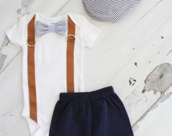 Newborn Baby Boy Coming Home Outfit Set to 3 Items. Bow Tie and Suspender Bodysuit, Shorts & Seer Sucker Newsboy Hat Summer Wedding Outfit