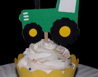 12 Tractor READY TO SHIP Farm Cupcake Topper Barnyard Baby Shower Food Pick Birthday Party Pick Old MacDonald Cow cupcake decoration wrapper