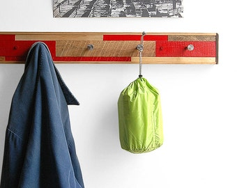 5 Hook Coat Rack Reclaimed Wood - Red Scarano Style