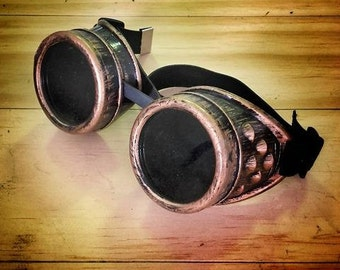 Steampunk goggles antiqued gold bronce glasses rustic