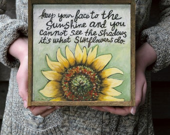 Sunflowers Quote Wall Art, Yellow Flowers Wall Art, Encouragement Gift Idea, Favorite Quotes, Framed Inspiration Quote, Gift for Girlfriend