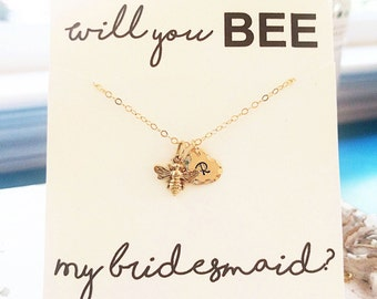 Will you be (BEE) my bridesmaid? Personalized Jewelry Card for Bridesmaids Gift, Bee Necklace, Bee Bracelet, Initial Necklace, BEE Jewelry