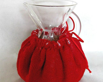 Burlap Chemex Cozy- One Piece-Fits 6-8-10 cup Sizes with wooden or glass handle- Red-Holiday Gift Idea