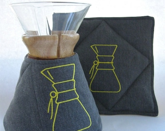Chemex Cozy and Warming Pad Set- Durable Denim-Gray/Yellow Chevron-8 cup wooden collar-kitchen decor-couples gift