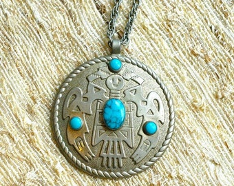 Native American Turquoise Silver Necklace, Large Pendant