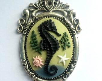 Seahorse Cameo Necklace