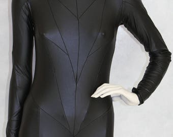 Black leather look like Catsuit Jumpsuit Catwoman Unitard Leotard Bodysuit Costume Long Sleeve PVC fabric with Back Zipper complex pattern