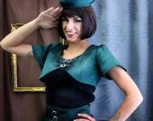Steampunk Military satin bolero ,  Pin Up Rockabilly