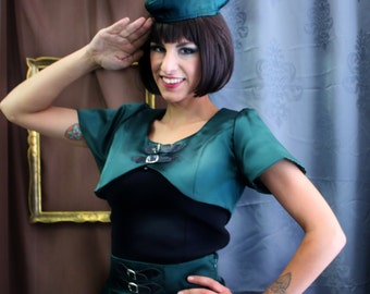 Steampunk Military satin bolero ,  Pin Up Rockabilly