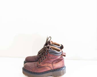 DOC MARTENS brown leather grunge lace ankle combat boots - women's size 8