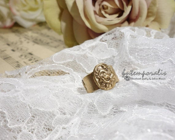 Adjustable bronze ring, rose pattern, OOAK, SABA08