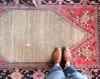 vintage Persian rug, rustic and worn bohemian rug, 3.7' x 5.11'