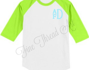 YOUTH SIZE Chest Monogram Baseball Tee TShirt Raglan Sleeve Shirt Team Colors Little League Softball TBall Mom and Me Shirts