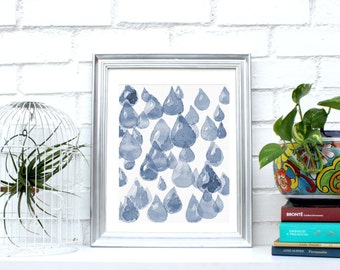 """Printable wall art, watercolor, Instant Download, """"Drops"""" print, post card print,5 different sizes for the price of 1. Indigo blue & white"""