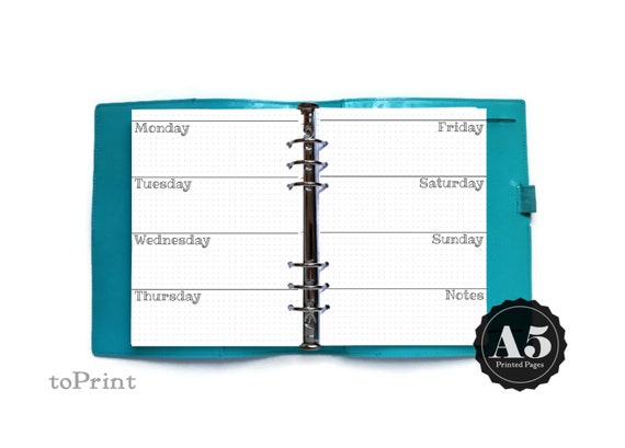 Printed Weekly Grid Planner Inserts A5 Bullet Journal