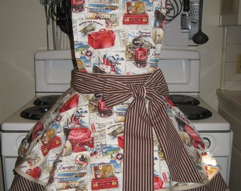 Travel, Vintage Inspired, Brown and White Stripe Fancy Pin Up Hostess Apron