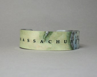 Massachusetts Cuff Bracelet Unique Hometown Map Gift for Men or Women