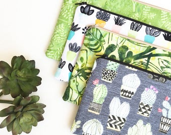 Succulent Zipper Pouch, Mothers Day from Son, Houseplants Pencil Pouch, Pencil Case, Cosmetics Bag, School Supplies, Gift For Her, Greenery