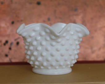 Vintage Hobnail Milk glass Decorative Bowl, Candle holder, Milk glass Dish, Vintage Decor, Shabby Chic