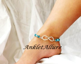 Infinity Rhinestone Anklet Ankle Bracelet Something Blue Bridal Jewelry Body Jewelry Garter Ceremony Foot Jewelry